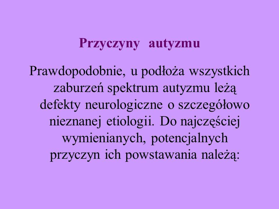 Przyczyny autyzmu Prawdopodobnie, u podłoża wszystkich zaburzeń spektrum autyzmu leżą defekty neurologiczne o szczegółowo nieznanej etiologii. Do najc