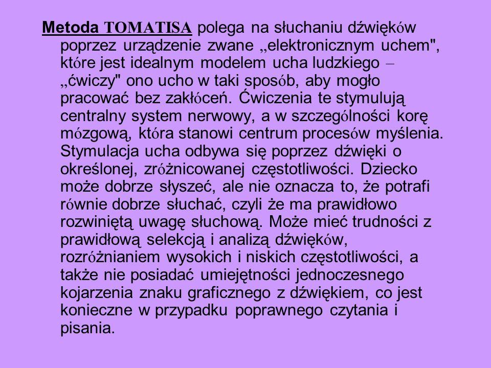 Metoda TOMATISA polega na słuchaniu dźwięk ó w poprzez urządzenie zwane elektronicznym uchem