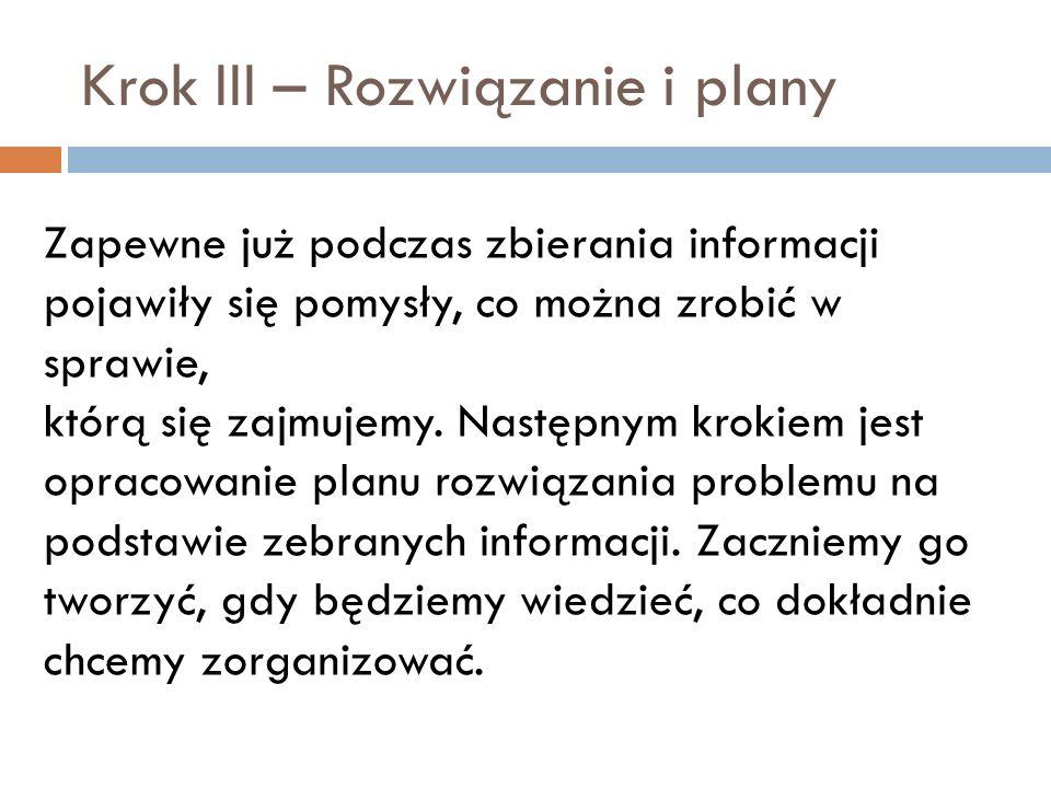 Krok III – Rozwiązanie i plany Zapewne już podczas zbierania informacji pojawiły się pomysły, co można zrobić w sprawie, którą się zajmujemy. Następny
