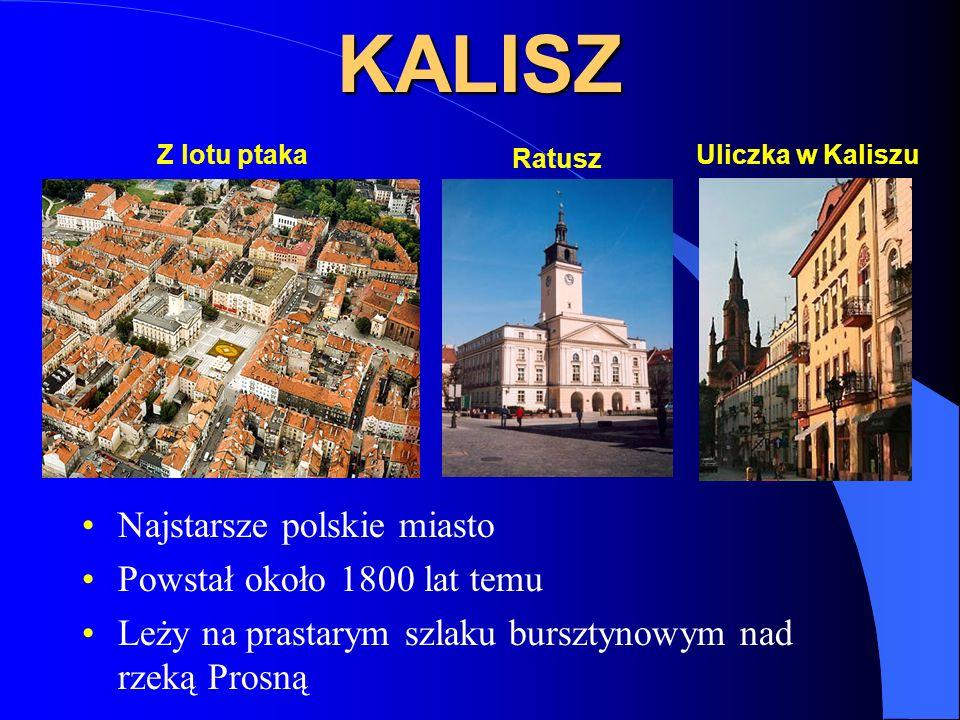 KALISZ Najstarsze polskie miasto Powstał około 1800 lat temu Leży na prastarym szlaku bursztynowym nad rzeką Prosną Z lotu ptakaUliczka w Kaliszu Ratu