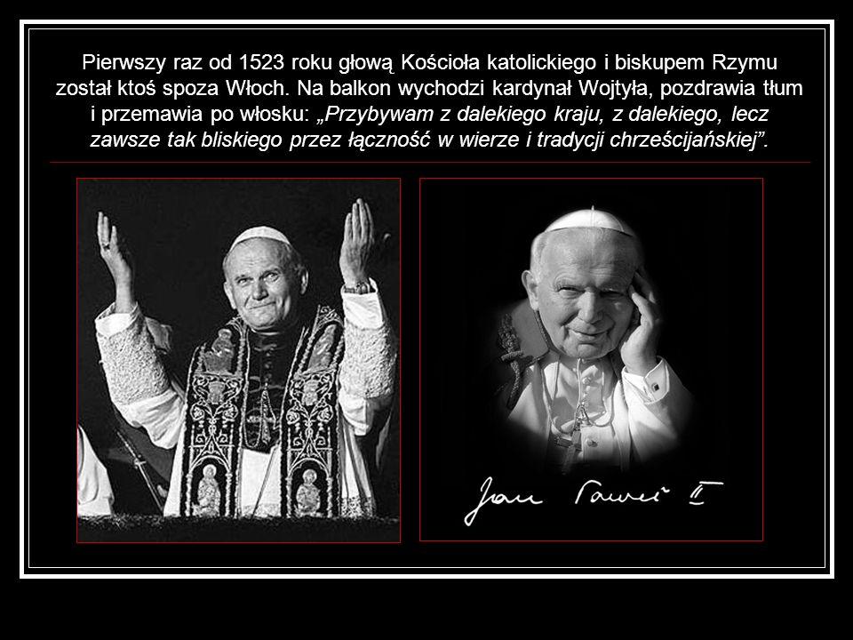 Pierwszy raz od 1523 roku głową Kościoła katolickiego i biskupem Rzymu został ktoś spoza Włoch. Na balkon wychodzi kardynał Wojtyła, pozdrawia tłum i