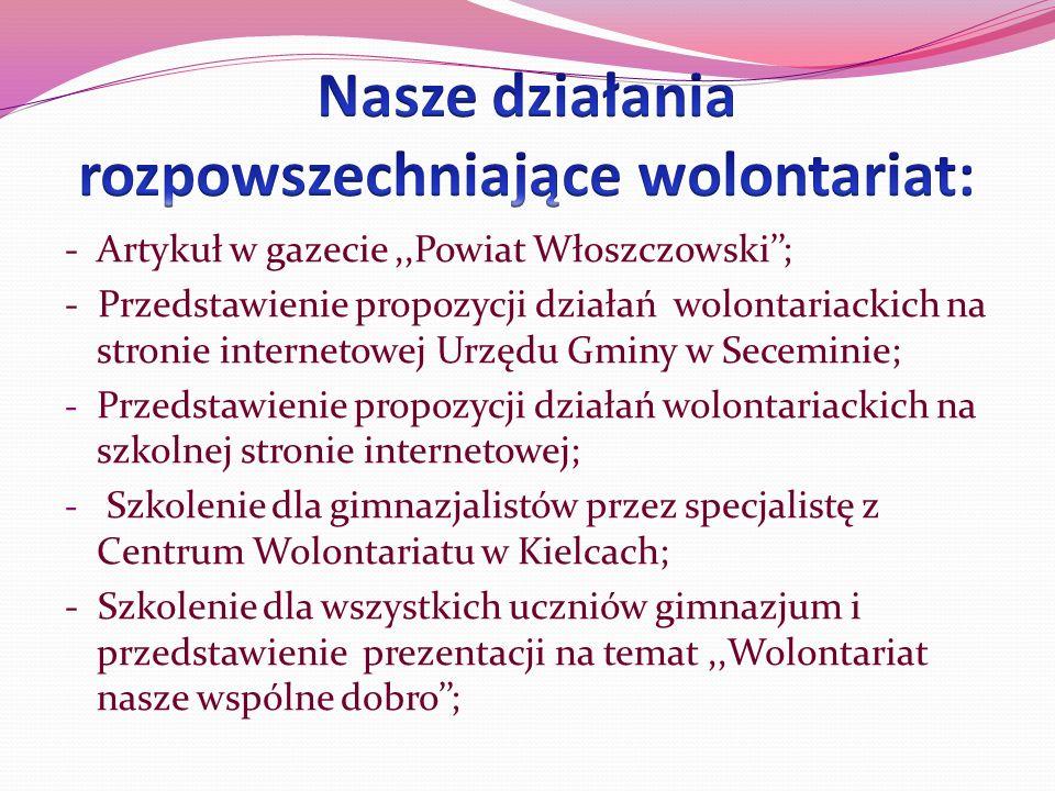 - Artykuł w gazecie,,Powiat Włoszczowski; - Przedstawienie propozycji działań wolontariackich na stronie internetowej Urzędu Gminy w Seceminie; - Prze