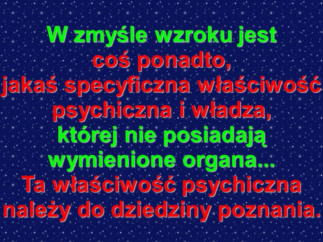 W zmyśle wzroku jest coś ponadto, jakaś specyficzna właściwość psychiczna i władza, której nie posiadają wymienione organa...