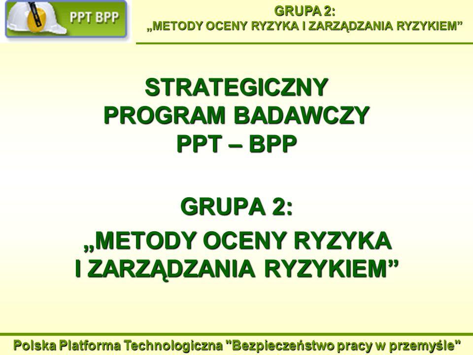 Polska Platforma Technologiczna Bezpieczeństwo pracy w przemyśle GRUPA 2: METODY OCENY RYZYKA I ZARZĄDZANIA RYZYKIEM Podstawowe obszary badawcze: 1.Ocena i zarządzanie ryzykiem związanym z zagrożeniami fizycznymi 2.Ocena i zarządzanie ryzykiem związanym z zagrożeniami czynnikami chemicznymi i biologicznymi 3.Doskonalenie metod i narzędzi zarządzania ryzykiem zawodowym, ze szczególnym uwzględnieniem potrzeb małych i średnich przedsiębiorstw 4.Analiza kosztów i korzyści zarządzania ryzykiem zawodowym.
