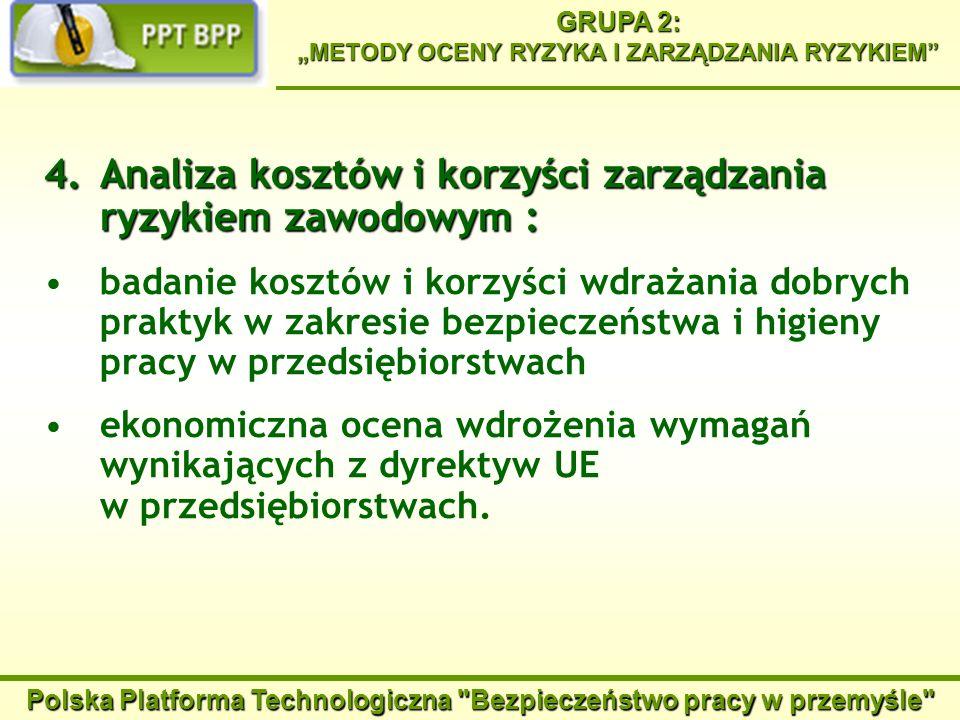 Polska Platforma Technologiczna Bezpieczeństwo pracy w przemyśle GRUPA 2: METODY OCENY RYZYKA I ZARZĄDZANIA RYZYKIEM Zgłoszony projekt zamawiany: Określenie markerów genetycznych i proteomicznych do diagnozowania wczesnych skutków narażeń zawodowych na antropogenne pyły zawierających metale rakotwórcze Przewidywane wyniki: ustalenie nowych markerów stanów poprzedzających rozwój choroby nowotworowej, powodowanej narażeniem na związki rakotwórcze metali zawarte w pyłach antropogennych, wprowadzenie i rozpowszechnienie prostych i tanich metod bardzo wczesnego wykrywania narażeń i zmian, które mogą w przyszłości prowadzić do rozwoju choroby nowotworowej, dostarczenie danych do weryfikacji wartości najwyższych dopuszczalnych stężeń związków metali w środowisku pracy, poprawa prewencji zachorowań na choroby nowotworowe poprzez podjęcie działań w środowisku pracy i życia.