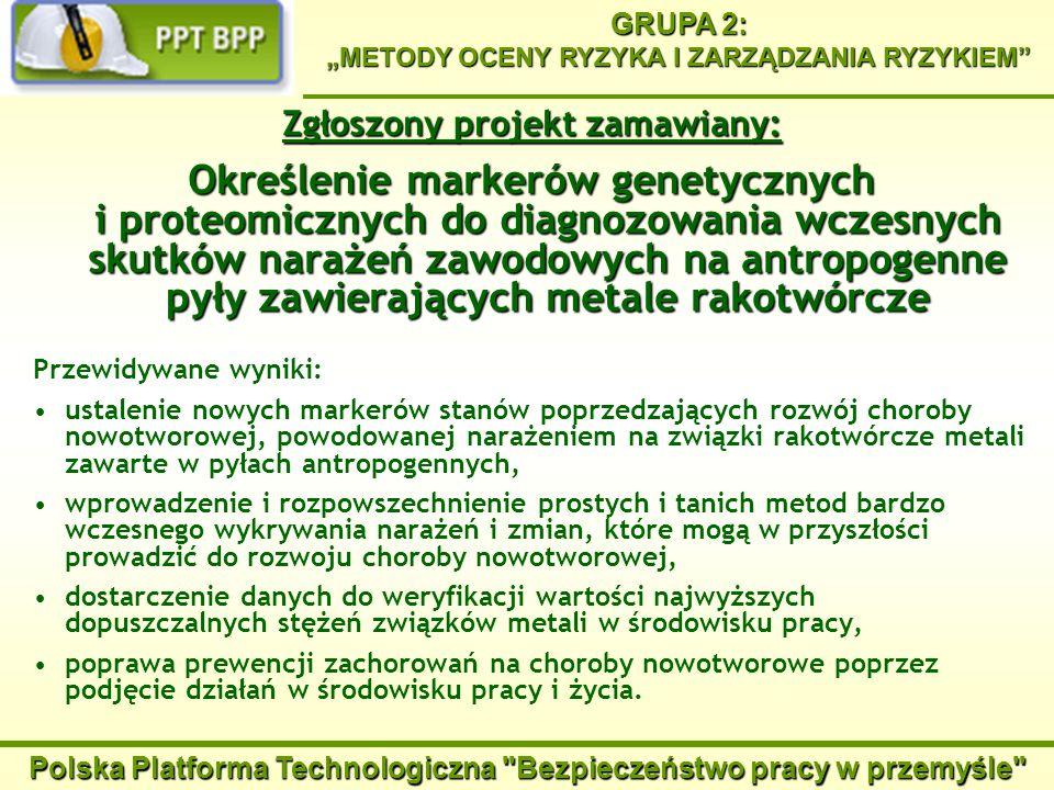 Polska Platforma Technologiczna Bezpieczeństwo pracy w przemyśle GRUPA 2: METODY OCENY RYZYKA I ZARZĄDZANIA RYZYKIEM Określenie markerów genetycznych i proteomicznych do diagnozowania wczesnych skutków narażeń zawodowych na antropogenne pyły zawierających metale rakotwórcze Potencjalni realizatorzy: Instytut Biochemii i Biofizyki PAN (Środowiskowe Laboratorium Spektrometrii Mas, Zakład Biologii Molekularnej), Centralny Instytut Ochrony Pracy – Państwowy Instytut Badawczy, Pracownie Zakładu Zagrożeń Chemicznych i Pyłowych, Akademia Medyczna im.
