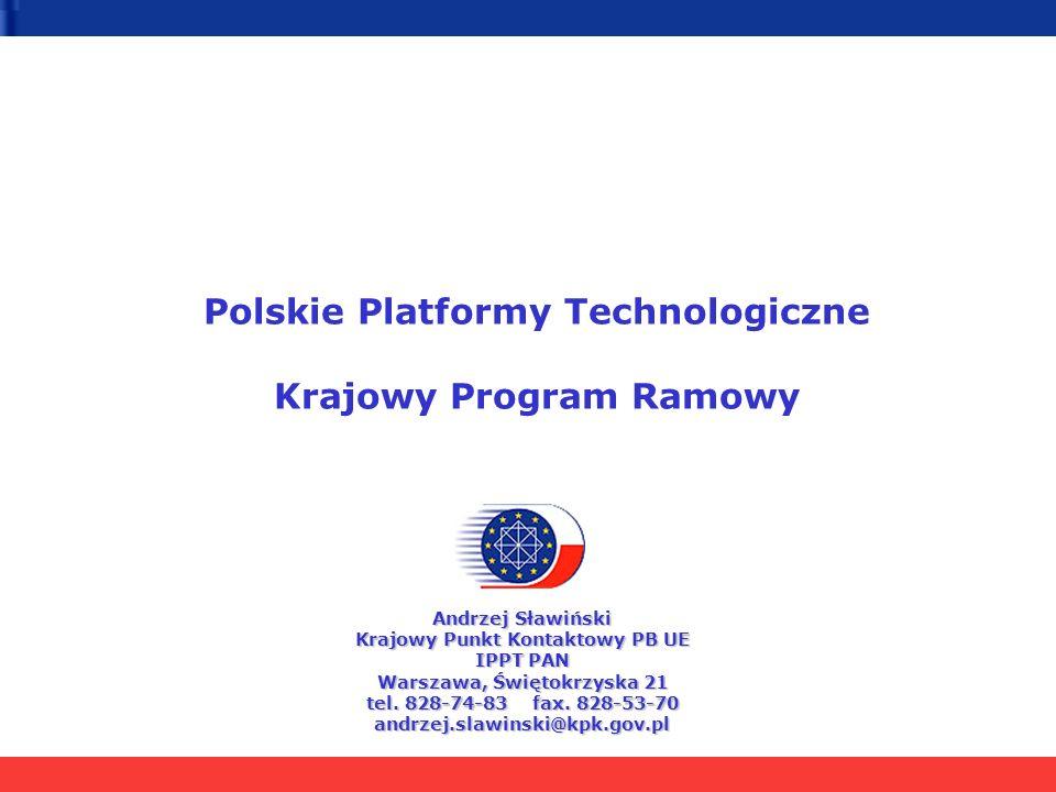 Polskie Platformy Technologiczne Krajowy Program Ramowy Andrzej Sławiński Krajowy Punkt Kontaktowy PB UE IPPT PAN Warszawa, Świętokrzyska 21 tel.