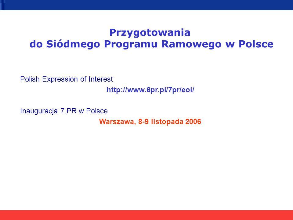 Przygotowania do Siódmego Programu Ramowego w Polsce Polish Expression of Interest http://www.6pr.pl/7pr/eoi/ Inauguracja 7.PR w Polsce Warszawa, 8-9 listopada 2006