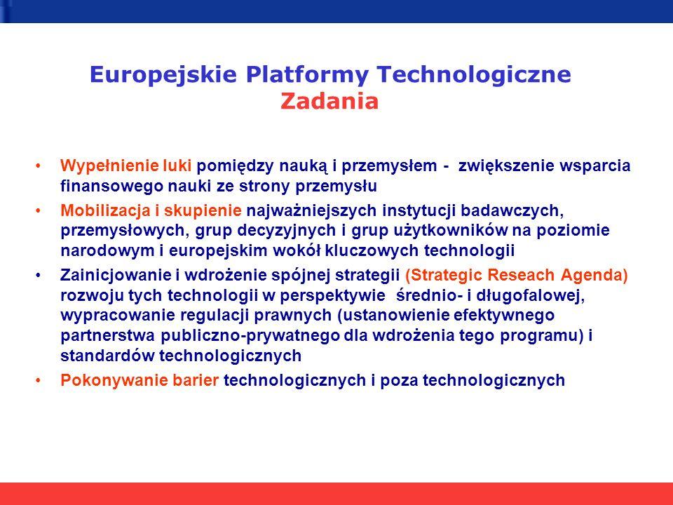 Wypełnienie luki pomiędzy nauką i przemysłem - zwiększenie wsparcia finansowego nauki ze strony przemysłu Mobilizacja i skupienie najważniejszych instytucji badawczych, przemysłowych, grup decyzyjnych i grup użytkowników na poziomie narodowym i europejskim wokół kluczowych technologii Zainicjowanie i wdrożenie spójnej strategii (Strategic Reseach Agenda) rozwoju tych technologii w perspektywie średnio- i długofalowej, wypracowanie regulacji prawnych (ustanowienie efektywnego partnerstwa publiczno-prywatnego dla wdrożenia tego programu) i standardów technologicznych Pokonywanie barier technologicznych i poza technologicznych Europejskie Platformy Technologiczne Zadania