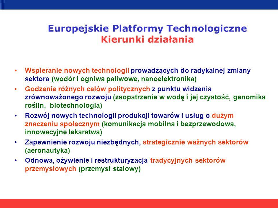 Wspieranie nowych technologii prowadzących do radykalnej zmiany sektora (wodór i ogniwa paliwowe, nanoelektronika) Godzenie różnych celów politycznych z punktu widzenia zrównoważonego rozwoju (zaopatrzenie w wodę i jej czystość, genomika roślin, biotechnologia) Rozwój nowych technologii produkcji towarów i usług o dużym znaczeniu społecznym (komunikacja mobilna i bezprzewodowa, innowacyjne lekarstwa) Zapewnienie rozwoju niezbędnych, strategicznie ważnych sektorów (aeronautyka) Odnowa, ożywienie i restrukturyzacja tradycyjnych sektorów przemysłowych (przemysł stalowy) Europejskie Platformy Technologiczne Kierunki działania