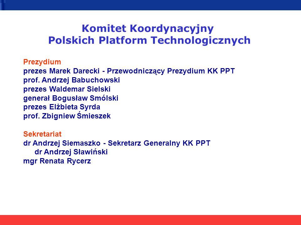 Komitet Koordynacyjny Polskich Platform Technologicznych Prezydium prezes Marek Darecki - Przewodniczący Prezydium KK PPT prof.