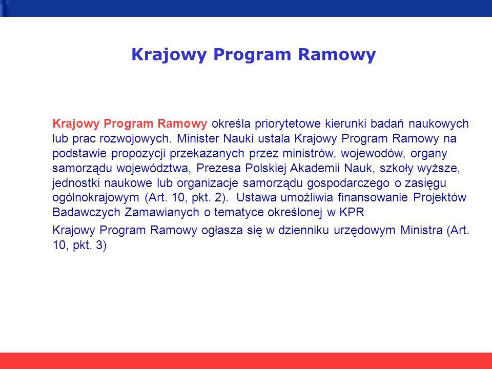 Krajowy Program Ramowy Krajowy Program Ramowy określa priorytetowe kierunki badań naukowych lub prac rozwojowych.