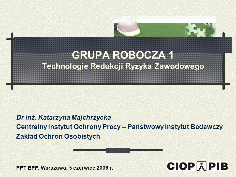GRUPA ROBOCZA 1 Technologie Redukcji Ryzyka Zawodowego Dr inż. Katarzyna Majchrzycka Centralny Instytut Ochrony Pracy – Państwowy Instytut Badawczy Za