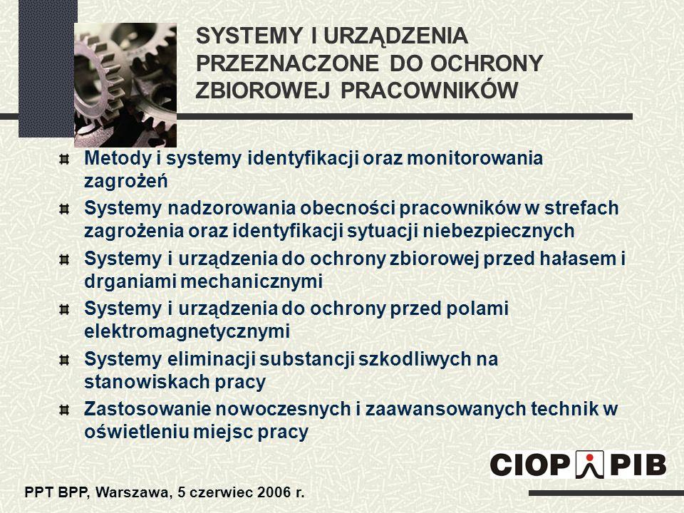 SYSTEMY I URZĄDZENIA PRZEZNACZONE DO OCHRONY ZBIOROWEJ PRACOWNIKÓW Metody i systemy identyfikacji oraz monitorowania zagrożeń Systemy nadzorowania obe