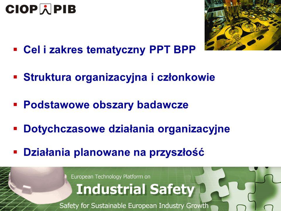 Technology Platform Safety for Sustainable European Industry Growth Podstawowe cele PPT BPP Włączenie się w działania ETPIS (European Technology Platform on Industrial Safety) - PPT BPP jest krajowym odpowiednikiem ETPIS Zbudowanie pomostu pomiędzy nauką a przemysłem w obszarze BHP poprzez inicjowanie i prowadzenie badań naukowych oraz komercjalizację rozwiązań naukowych w tej dziedzinie Promocja innowacyjności i rozwoju naukowo-technicznego w obszarze bezpieczeństwa pracy w przemyśle Podnoszenie konkurencyjności gospodarki Polski i Unii Europejskiej w aspekcie Strategii Lizbońskiej