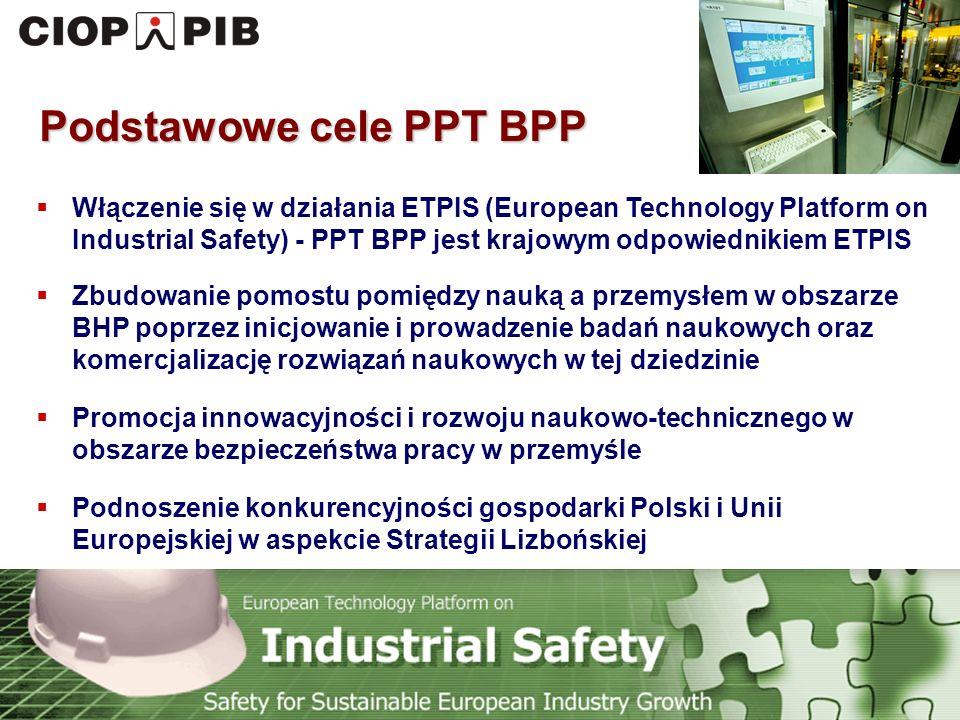 Technology Platform Safety for Sustainable European Industry Growth Zakres tematyczny PPT BPP (taki sam jak ETPIS) Bezpieczeństwo i higiena pracowników zatrudnionych w przemyśle Bezpieczeństwo środowiskowe związane z zapobieganiem poważnym awariom przemysłowym z konsekwencjami dla ludności i środowiska (Seveso II)