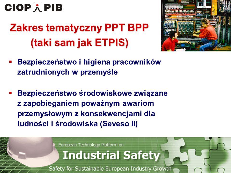 Technology Platform Safety for Sustainable European Industry Growth Dalsze działania PPT BPP (1) Ukonstytuowanie się Rady Doradczej Uaktualnienie listy członków PPT BPP (zebranie nowych deklaracji uczestnictwa) Komercjalizacja wyników prac badawczych Przygotowanie i wydanie nowej wersji ulotki o PPT BBP na Konferencję nt.