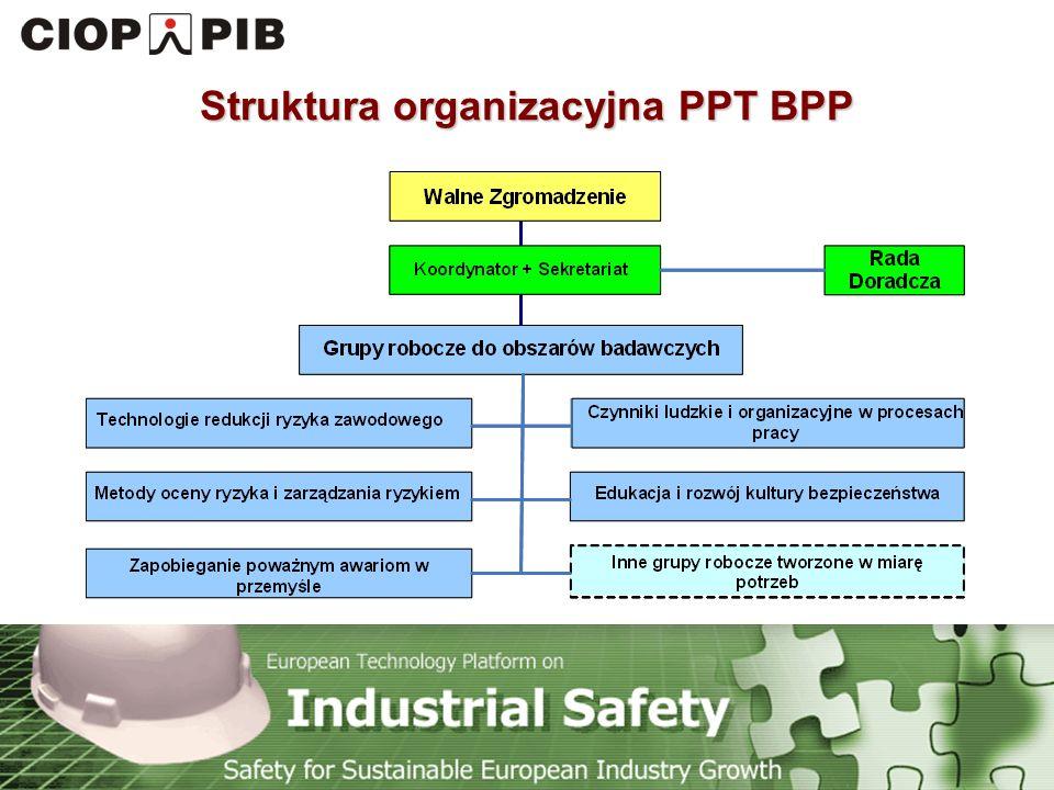 Technology Platform Safety for Sustainable European Industry Growth PPT BPP (57 członków) Przedsiębiorstwa przemysłowe (27) Instytucje naukowe (18) Inne organizacje pozarządowe (5) Związki zawodowe (2) Organizacje przedsiębiorstw (3) Instytucje państwowe (2)