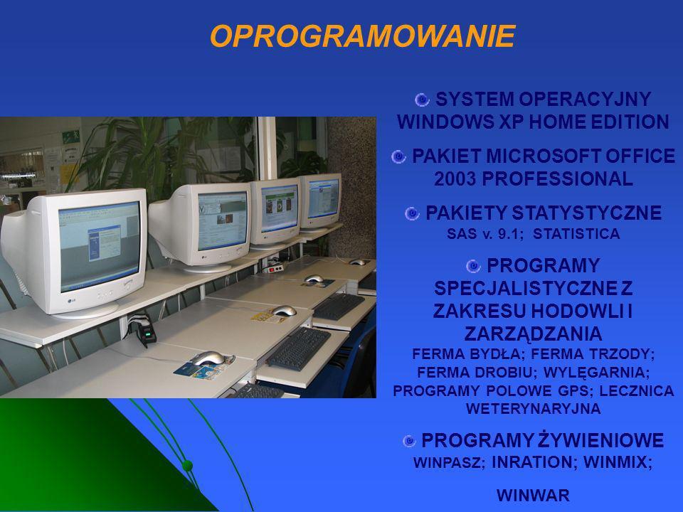 SYSTEM OPERACYJNY WINDOWS XP HOME EDITION PAKIET MICROSOFT OFFICE 2003 PROFESSIONAL PAKIETY STATYSTYCZNE SAS v. 9.1; STATISTICA PROGRAMY SPECJALISTYCZ