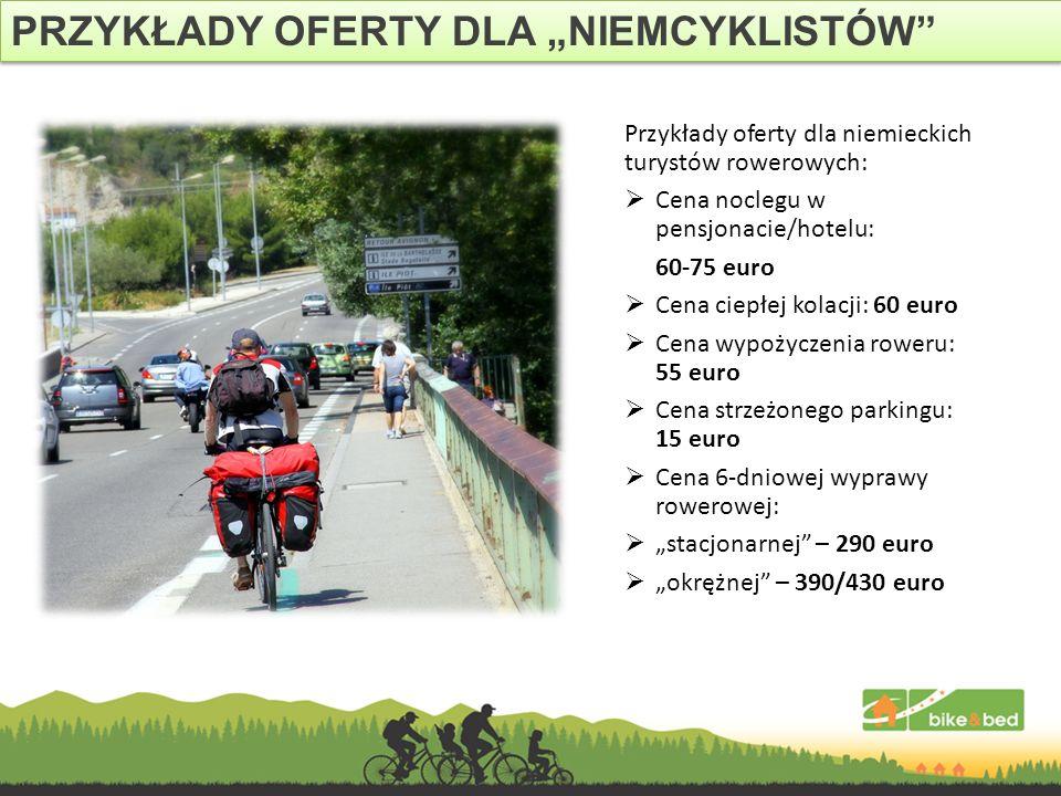 Przykłady oferty dla niemieckich turystów rowerowych: Cena noclegu w pensjonacie/hotelu: 60-75 euro Cena ciepłej kolacji: 60 euro Cena wypożyczenia ro