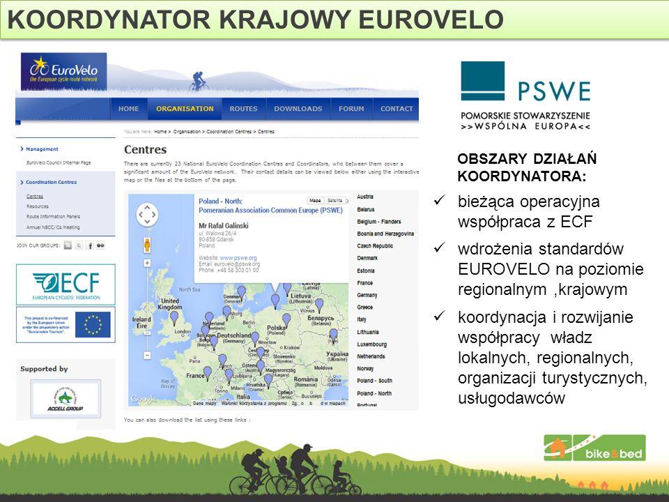 KOORDYNATOR KRAJOWY EUROVELO bieżąca operacyjna współpraca z ECF OBSZARY DZIAŁAŃ KOORDYNATORA: koordynacja i rozwijanie współpracy władz lokalnych, re