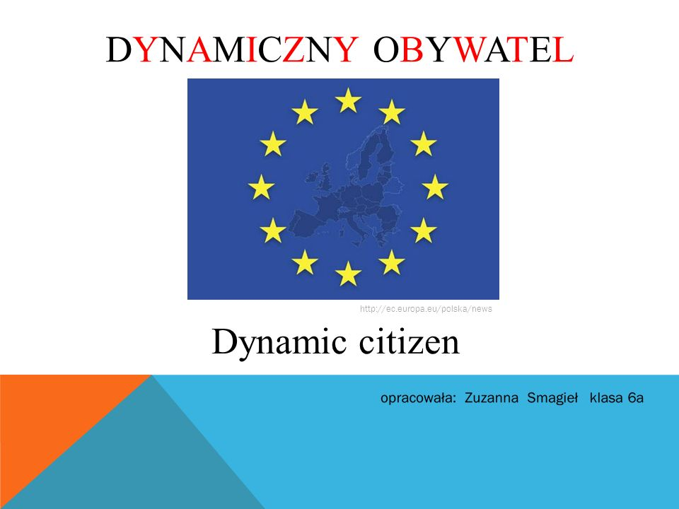 Dynamiczny obywatel to dziecko, które: bierze udział w wyborach szkolnych, angażuje się w życie szkoły, pracuje badawczo, organizuje akcje społeczne oraz pomaga innym.