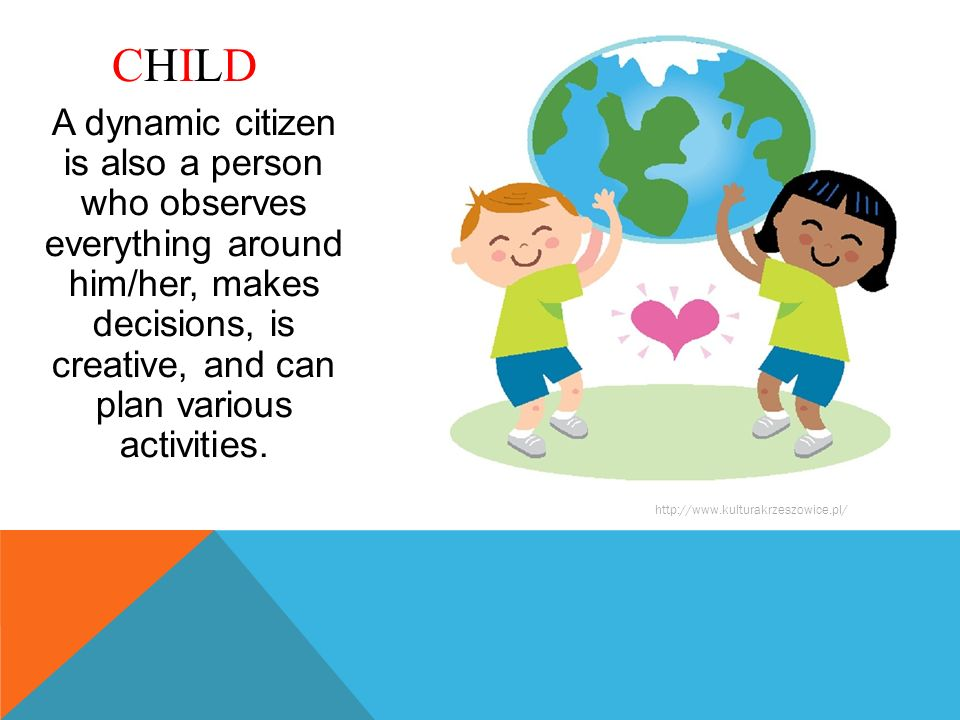 A dynamic citizen is also a person who observes everything around him/her, makes decisions, is creative, and can plan various activities. CHILDCHILD h