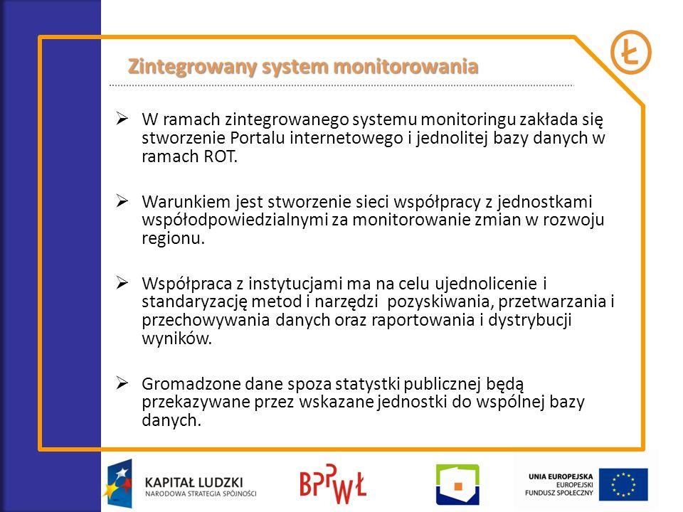 W ramach zintegrowanego systemu monitoringu zakłada się stworzenie Portalu internetowego i jednolitej bazy danych w ramach ROT. Warunkiem jest stworze