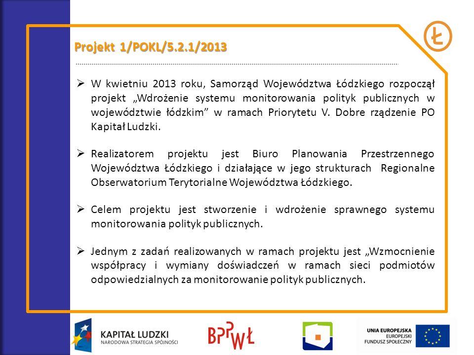 Projekt 1/POKL/5.2.1/2013 W kwietniu 2013 roku, Samorząd Województwa Łódzkiego rozpoczął projekt Wdrożenie systemu monitorowania polityk publicznych w