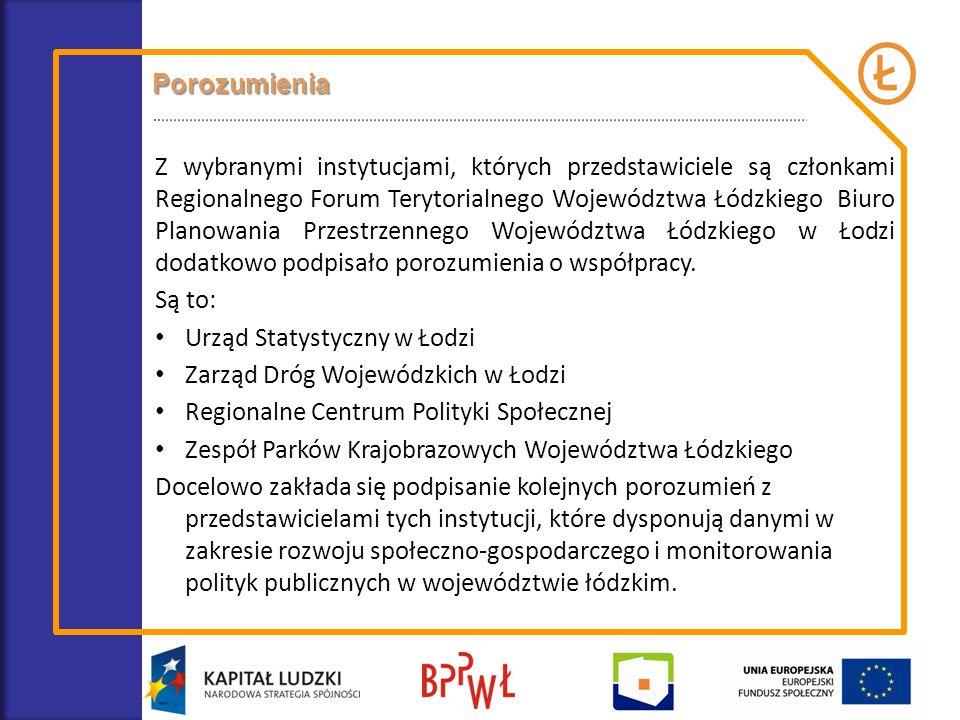 Porozumienia Z wybranymi instytucjami, których przedstawiciele są członkami Regionalnego Forum Terytorialnego Województwa Łódzkiego Biuro Planowania P