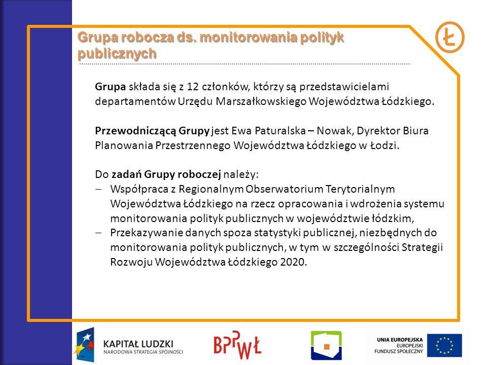 Grupa robocza ds. monitorowania polityk publicznych Grupa składa się z 12 członków, którzy są przedstawicielami departamentów Urzędu Marszałkowskiego