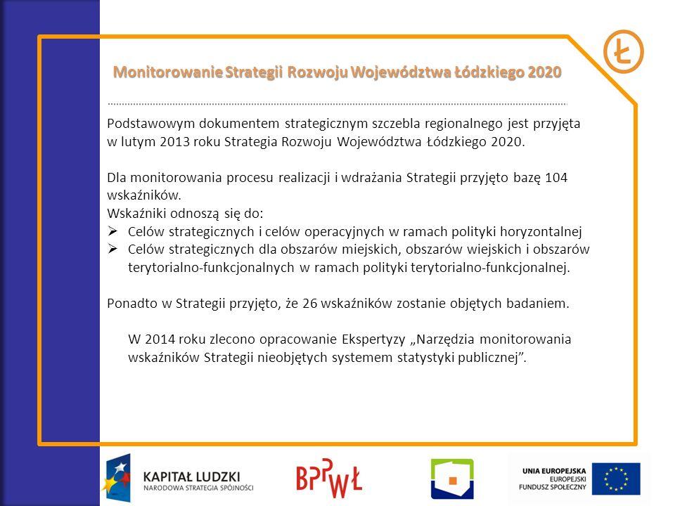 Podstawowym dokumentem strategicznym szczebla regionalnego jest przyjęta w lutym 2013 roku Strategia Rozwoju Województwa Łódzkiego 2020. Dla monitorow