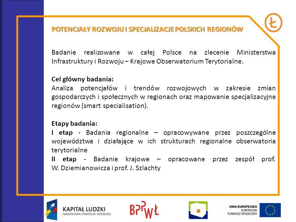 POTENCJAŁY ROZWOJU I SPECJALIZACJE POLSKICH REGIONÓW Badanie realizowane w całej Polsce na zlecenie Ministerstwa Infrastruktury i Rozwoju – Krajowe Ob