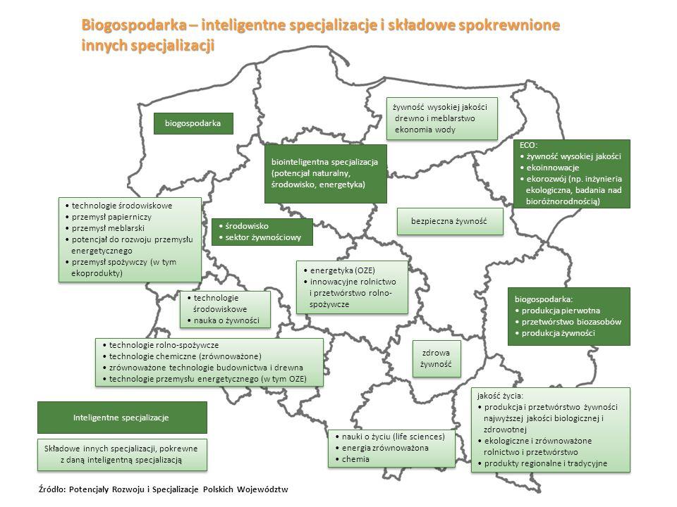 Biogospodarka – inteligentne specjalizacje i składowe spokrewnione innych specjalizacji biogospodarka biogospodarka: produkcja pierwotna przetwórstwo