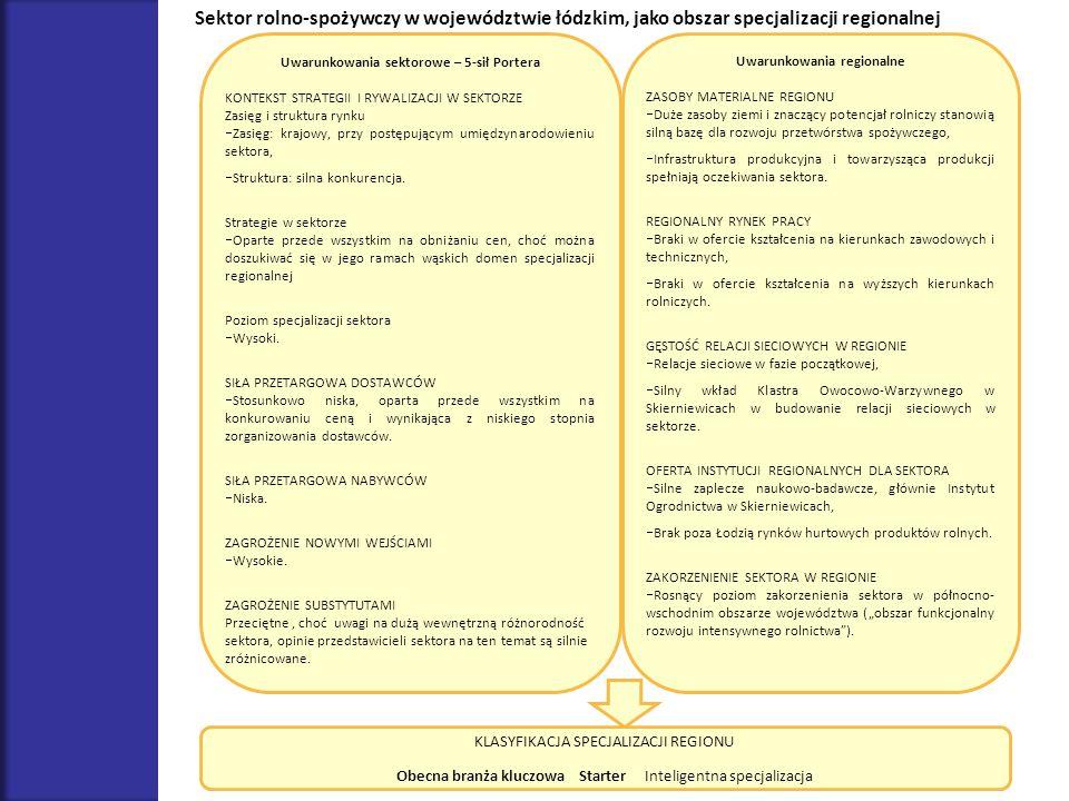 Uwarunkowania sektorowe – 5-sił Portera KONTEKST STRATEGII I RYWALIZACJI W SEKTORZE Zasięg i struktura rynku Zasięg: krajowy, przy postępującym umiędz