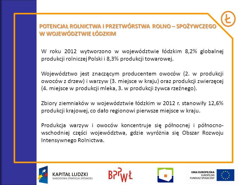 POTENCJAŁ ROLNICTWA I PRZETWÓRSTWA ROLNO – SPOŻYWCZEGO W WOJEWÓDZTWIE ŁÓDZKIM W roku 2012 wytworzono w województwie łódzkim 8,2% globalnej produkcji r