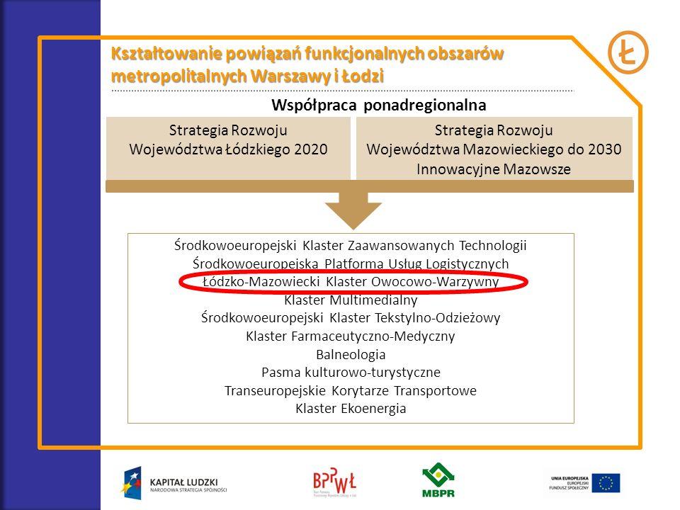 Kształtowanie powiązań funkcjonalnych obszarów metropolitalnych Warszawy i Łodzi Współpraca ponadregionalna Środkowoeuropejski Klaster Zaawansowanych