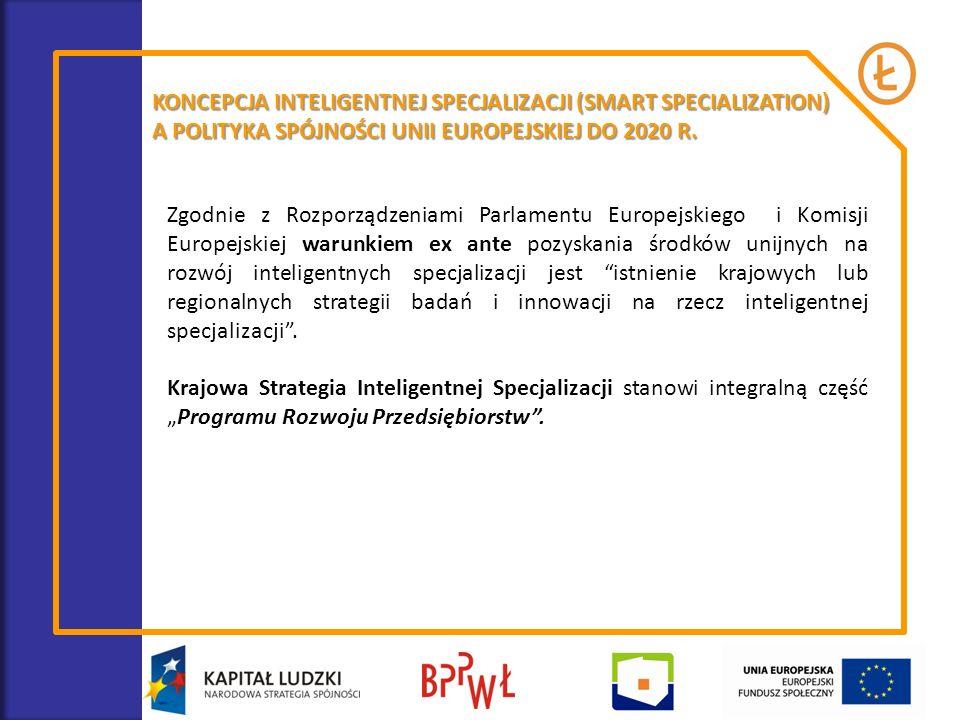KONCEPCJA INTELIGENTNEJ SPECJALIZACJI (SMART SPECIALIZATION) A POLITYKA SPÓJNOŚCI UNII EUROPEJSKIEJ DO 2020 R. Zgodnie z Rozporządzeniami Parlamentu E