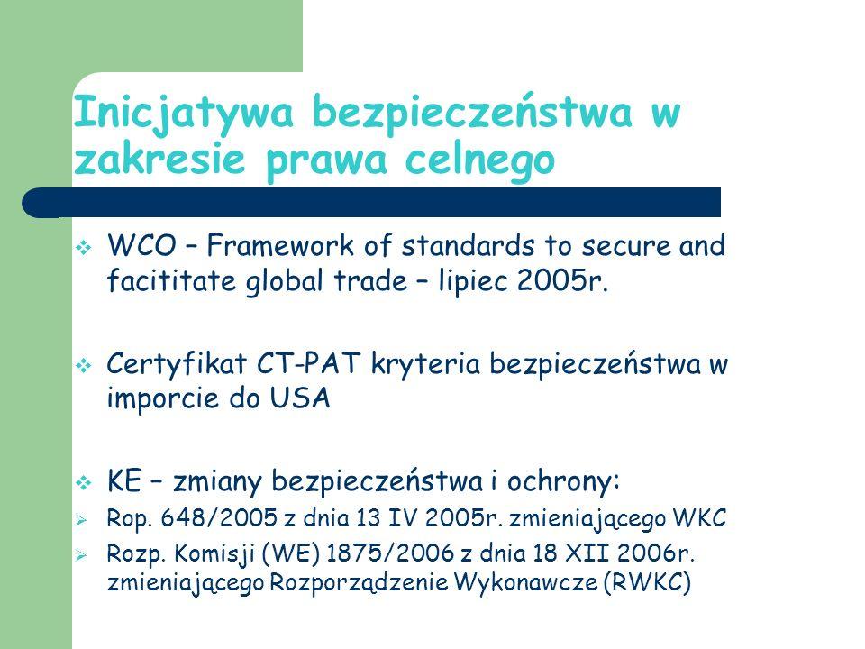 Inicjatywa bezpieczeństwa w zakresie prawa celnego WCO – Framework of standards to secure and facititate global trade – lipiec 2005r.