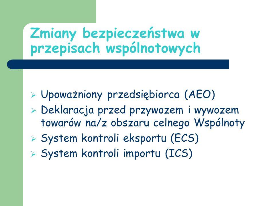 Zmiany bezpieczeństwa w przepisach wspólnotowych Upoważniony przedsiębiorca (AEO) Deklaracja przed przywozem i wywozem towarów na/z obszaru celnego Wspólnoty System kontroli eksportu (ECS) System kontroli importu (ICS)
