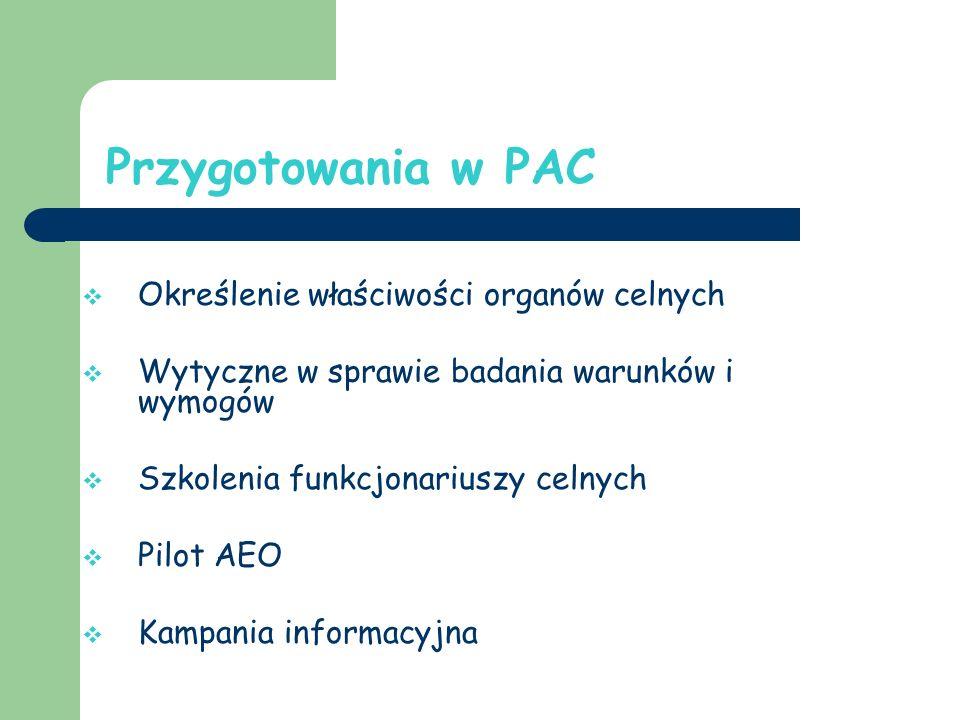 Przygotowania w PAC Określenie właściwości organów celnych Wytyczne w sprawie badania warunków i wymogów Szkolenia funkcjonariuszy celnych Pilot AEO Kampania informacyjna
