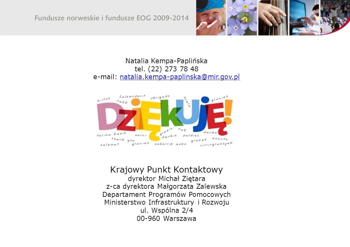 Natalia Kempa-Paplińska tel. (22) 273 78 48 e-mail: natalia.kempa-paplinska@mir.gov.plnatalia.kempa-paplinska@mir.gov.pl Krajowy Punkt Kontaktowy dyre