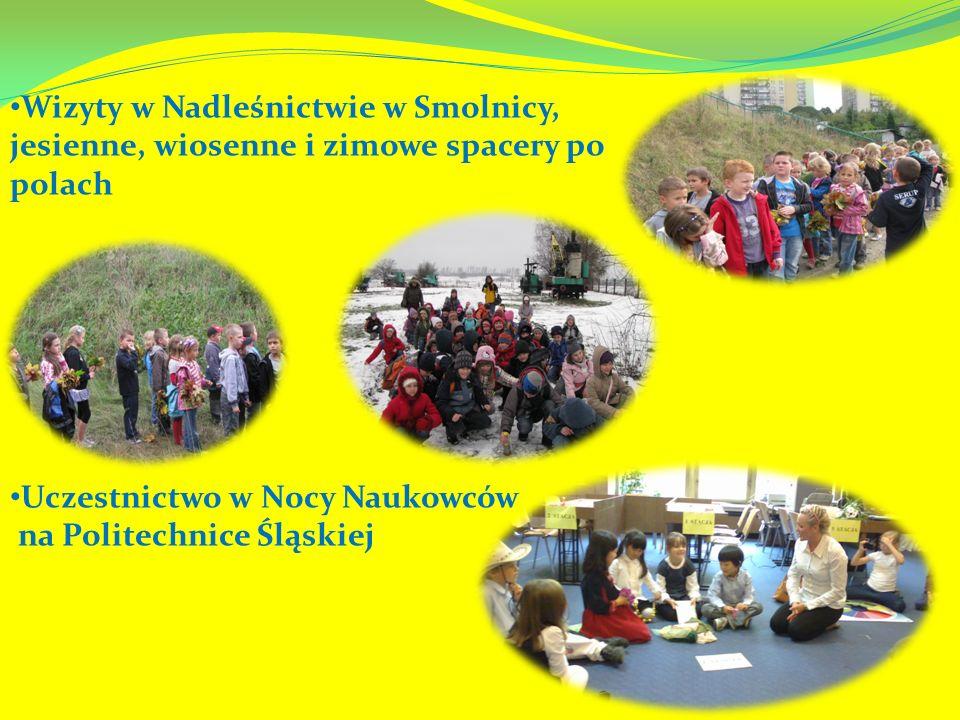 Wizyty w Nadleśnictwie w Smolnicy, jesienne, wiosenne i zimowe spacery po polach Uczestnictwo w Nocy Naukowców na Politechnice Śląskiej