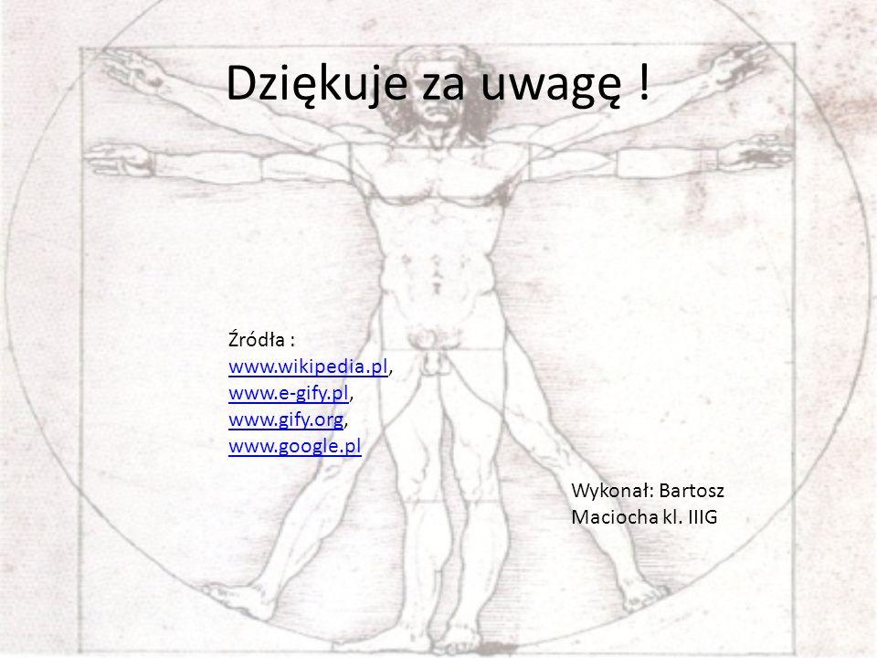 Dziękuje za uwagę ! Źródła : www.wikipedia.pl, www.e-gify.pl, www.wikipedia.pl www.e-gify.pl www.gify.orgwww.gify.org, www.google.pl Wykonał: Bartosz