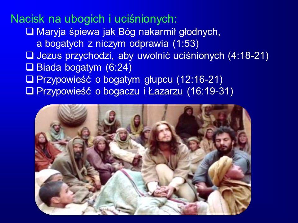 Nacisk na ubogich i uciśnionych: Maryja śpiewa jak Bóg nakarmił głodnych, a bogatych z niczym odprawia (1:53) Jezus przychodzi, aby uwolnić uciśnionyc
