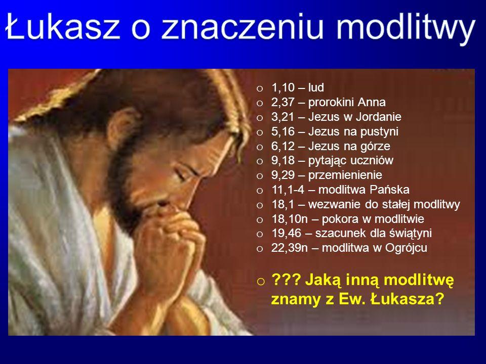 o 1,10 – lud o 2,37 – prorokini Anna o 3,21 – Jezus w Jordanie o 5,16 – Jezus na pustyni o 6,12 – Jezus na górze o 9,18 – pytając uczniów o 9,29 – prz