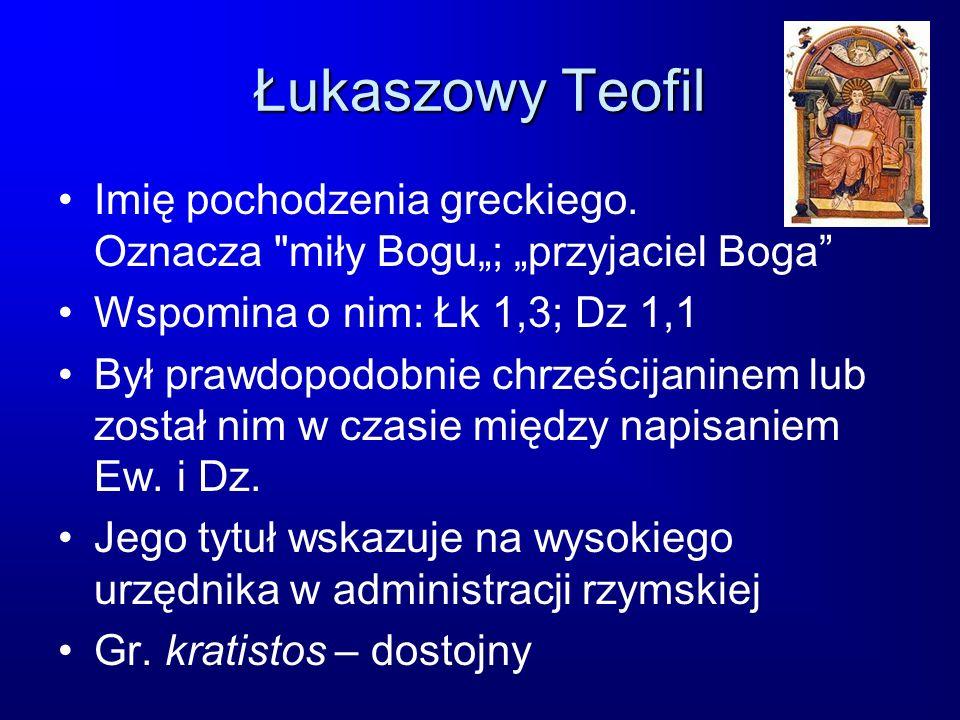 Łukaszowy Teofil Imię pochodzenia greckiego. Oznacza