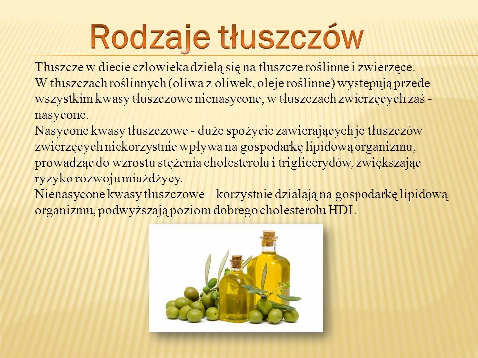 Tłuszcze w diecie człowieka dzielą się na tłuszcze roślinne i zwierzęce. W tłuszczach roślinnych (oliwa z oliwek, oleje roślinne) występują przede wsz