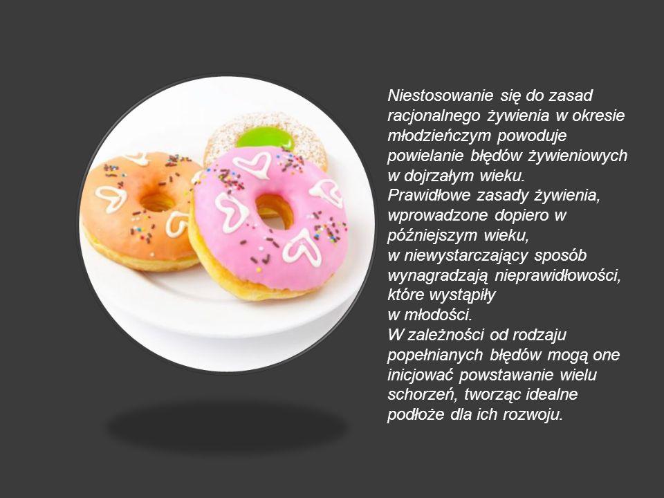 Niestosowanie się do zasad racjonalnego żywienia w okresie młodzieńczym powoduje powielanie błędów żywieniowych w dojrzałym wieku. Prawidłowe zasady ż
