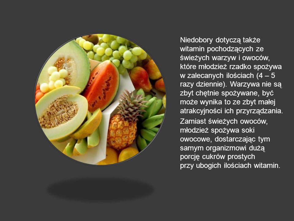 Niedobory dotyczą także witamin pochodzących ze świeżych warzyw i owoców, które młodzież rzadko spożywa w zalecanych ilościach (4 – 5 razy dziennie).